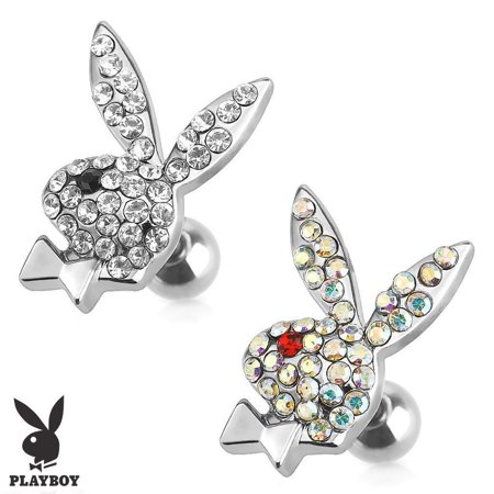 Playboy Bunny Cartilage Tragus with Multi Paved Gems 16g 1/4