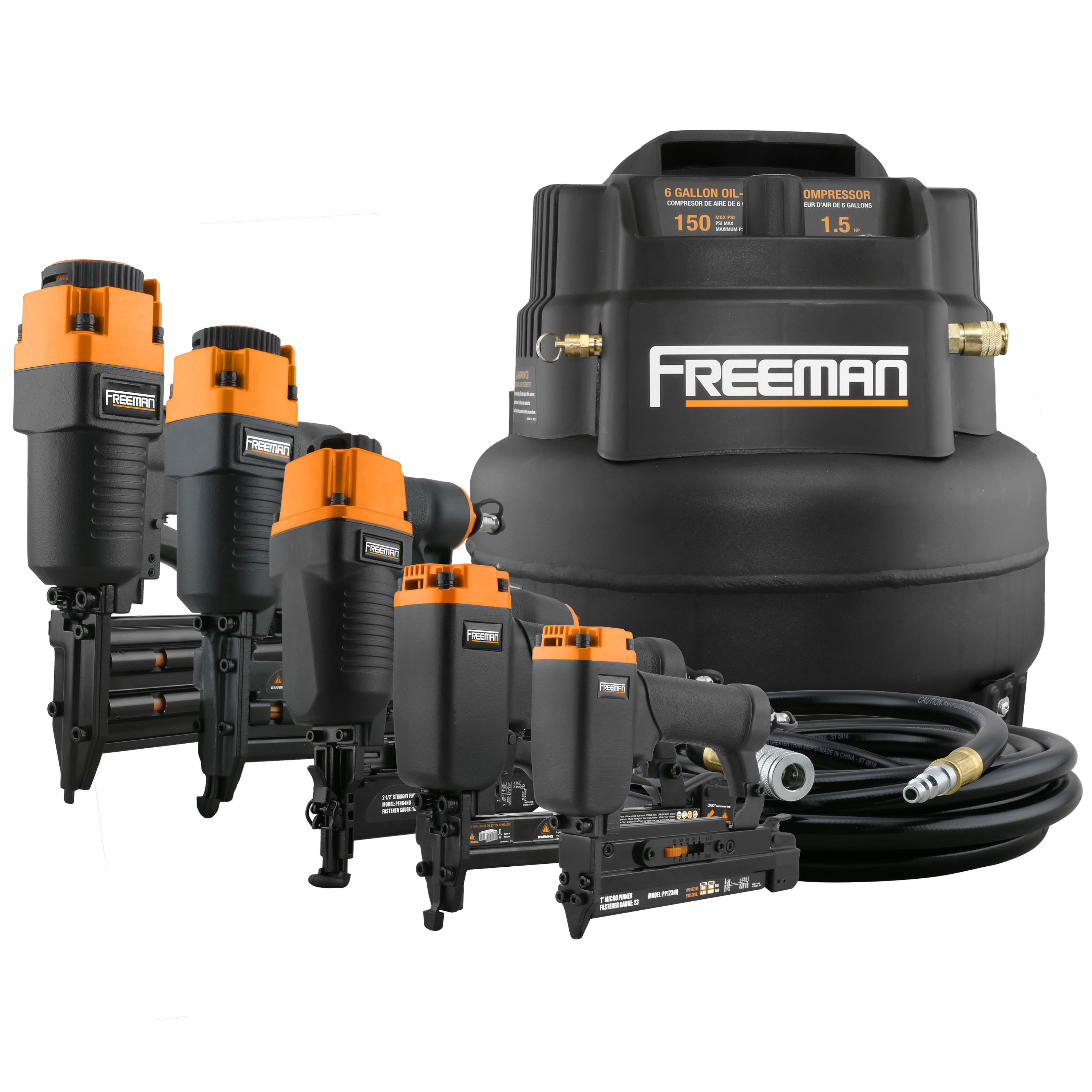 Freeman P5PCKW 5-Piece Nailer Kit w/ 6-Gallon Air Compressor, Accessories, and FREE Toolbelt
