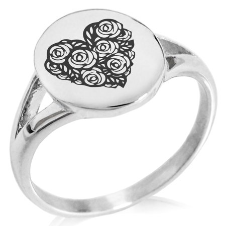 Stainless Steel Rose Petal Heart Minimalist Oval Top Polished Statement Ring (Polished Stainless Steel Top)