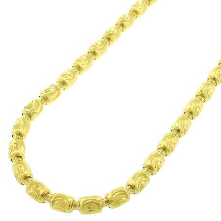 Sterling Silver Italian 4mm Oval Bead Moon Cut Barrel Link Solid 925 Yellow Gold Plated Necklace Chain 24