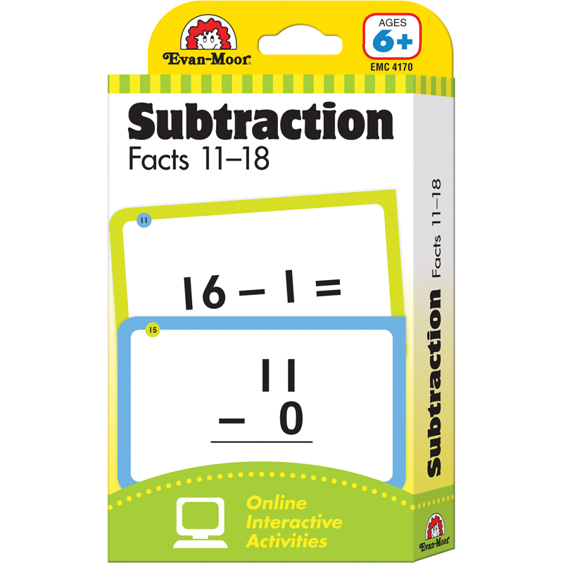 FLASHCARD SET SUBTRACTION FACTS 11 TO 18