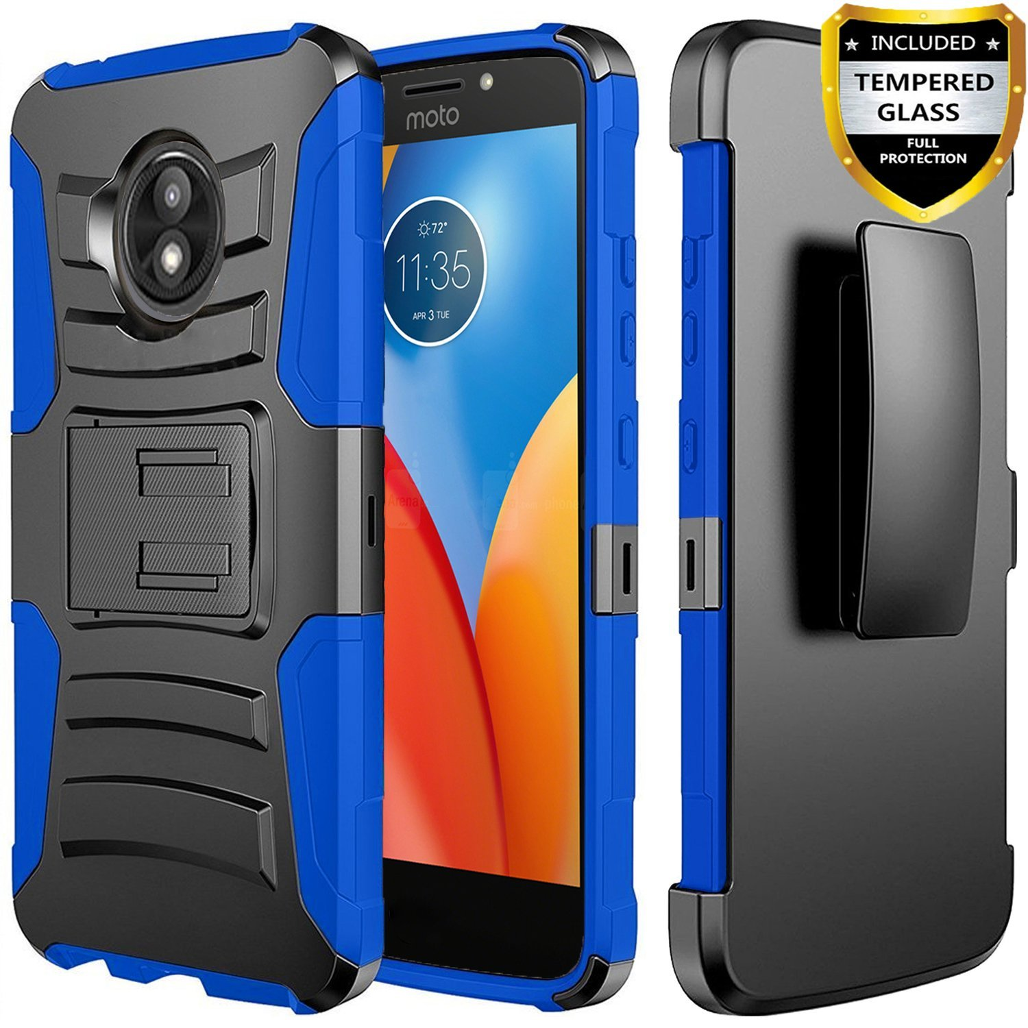 Moto E5 Cruise Case, Dual Layers [Combo Holster] And Built-In Kickstand Bundled with [Temerped Glass Screen Protector] Hybird Shockproof And Circlemalls Stylus Pen (Red)