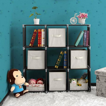 Zimtown 3 Tier Storage Cube Closet Organizer Shelf 9 Cube Cabinet Bookcase Storage Black