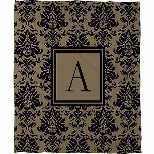 Thumbprintz Damask Monogram  Fleece Throw, Black and Gold