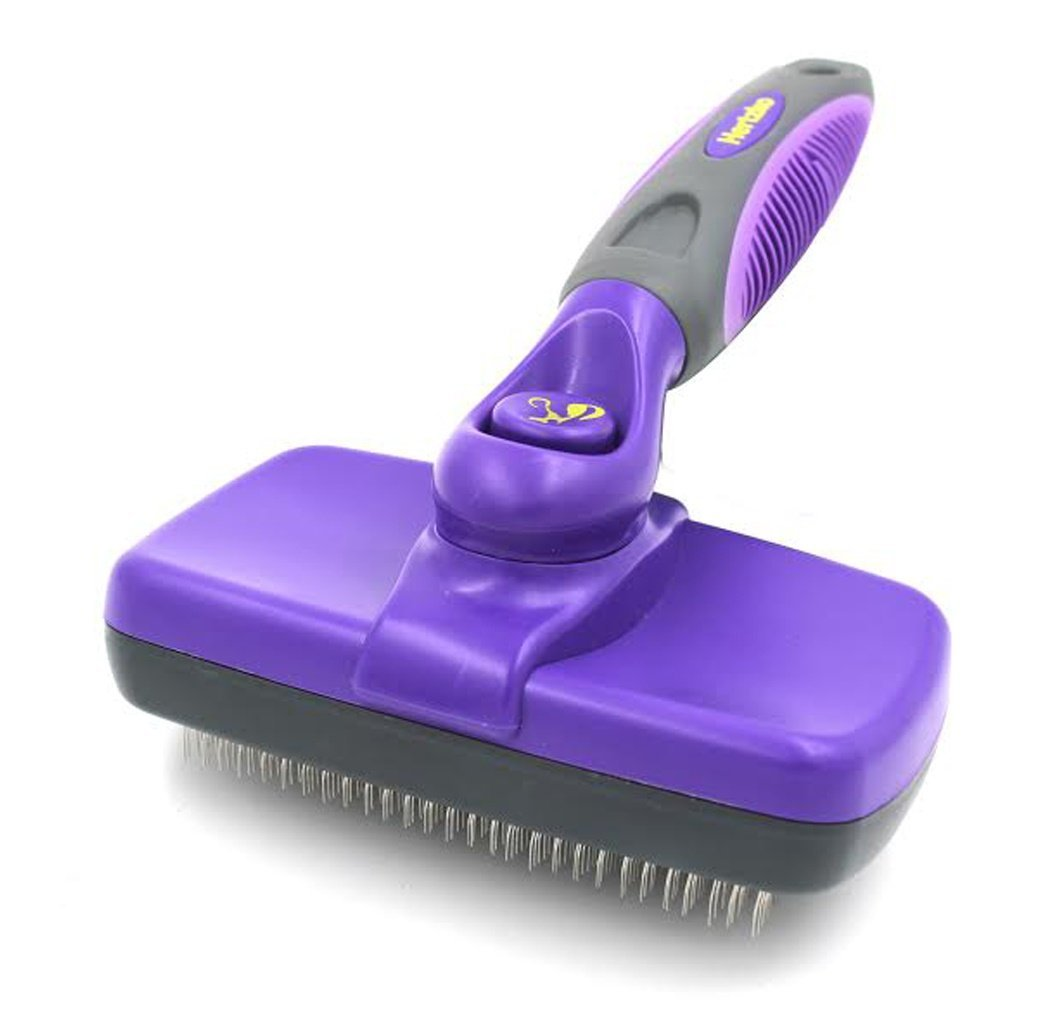 Pet Self Clean Slicker Brush by Hertzko - Great Grooming Tool for Small Medium and Large Dogs and Cats of all Hair Types