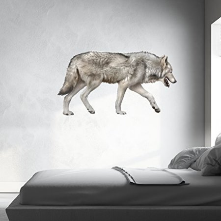 Grey Wolf Wall Decal - Wall Sticker, Vinyl Wall Art, Home Decor, Wall Mural - SD3040 - 16x9