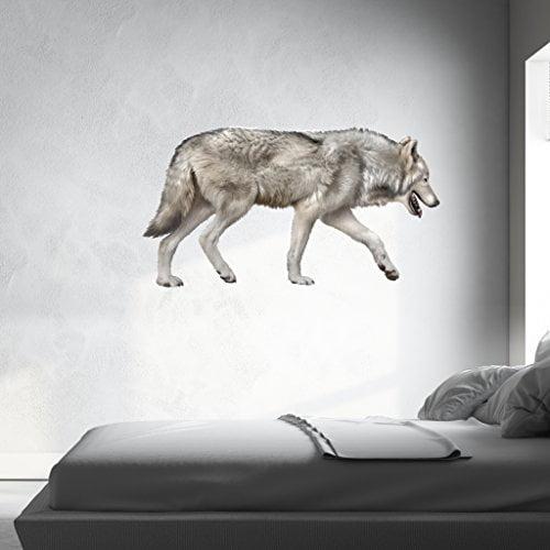 Grey Wolf Wall Decal - Wall Sticker, Vinyl Wall Art, Home Decor, Wall Mural - SD3040 - 16x9