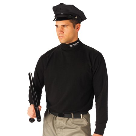Black Mock Turtleneck with Security Embroidered on the Collar
