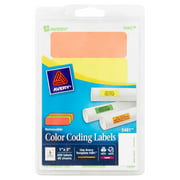 "Avery(R) Assorted Color (Neon Green, Neon Orange, Neon Red, Neon Yellow) Removable Print or Write Color Coding Labels for Laser Printers 5481, 1"" x 3"", 200 Labels"