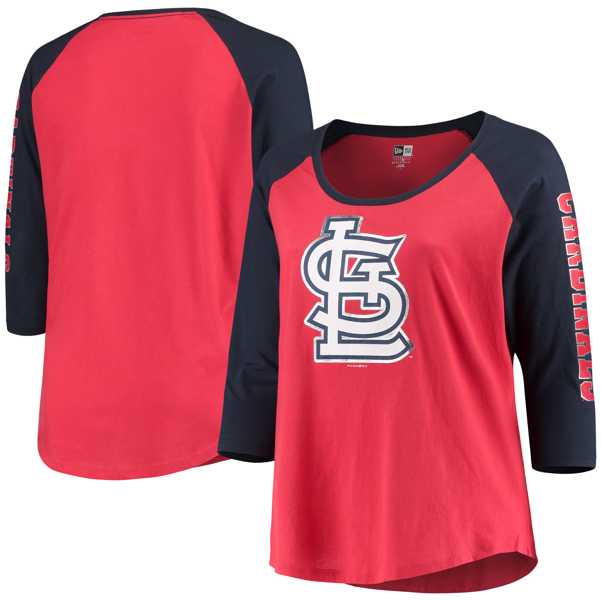 St. Louis Cardinals 5th & Ocean by New Era Women's Plus Size Foil 3/4-Sleeve Scoop Neck T-Shirt - Red/Navy
