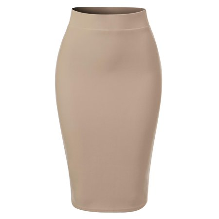 Made by Olivia Women's Casual Classic Bodycon Pencil Skirt with Back Slit Khaki