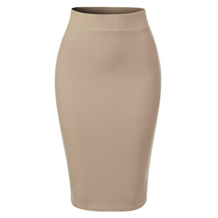 Made by Olivia Women's Casual Classic Bodycon Pencil Skirt with Back Slit Khaki L