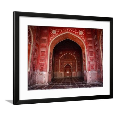 Interior of Red Sandstone Mosque in Grounds of Taj Mahal Framed Print Wall Art By Kimberley Coole