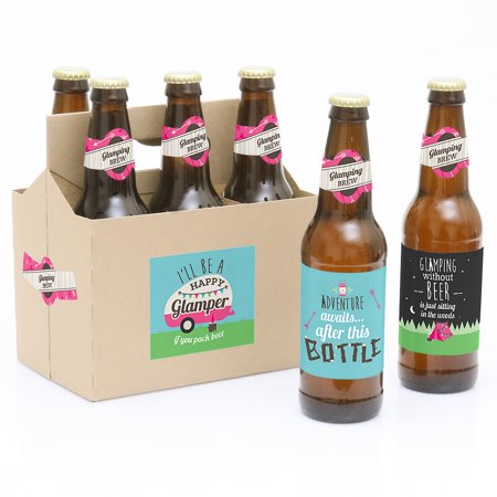Let's Go Glamping - Camp Glamp Party or Birthday Party Decorations for Women and Men - 6 Beer Bottle Label Stickers and