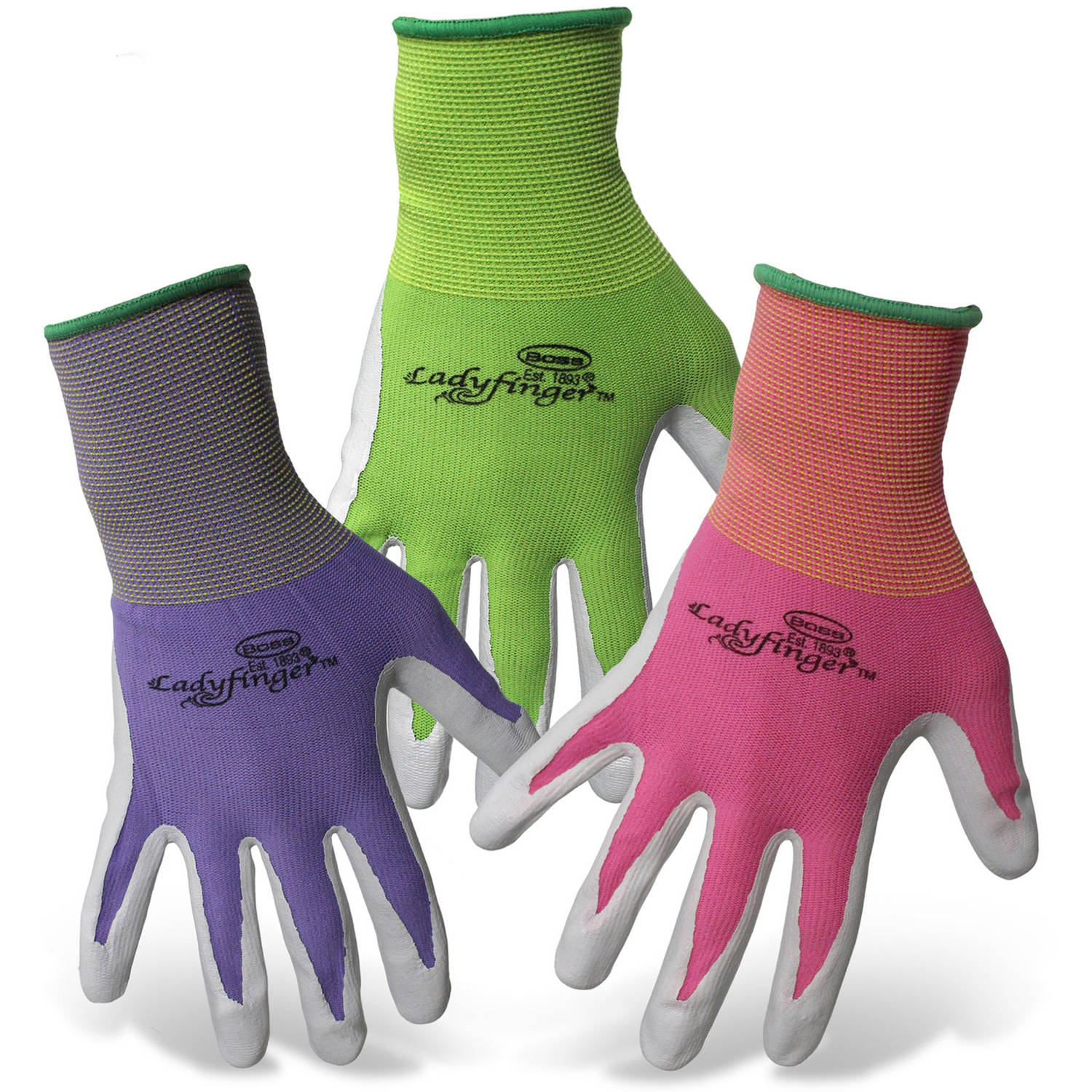 Boss Gloves 8438S Small LadyFinger Women's Nitrile Palm Gloves Asst Colors