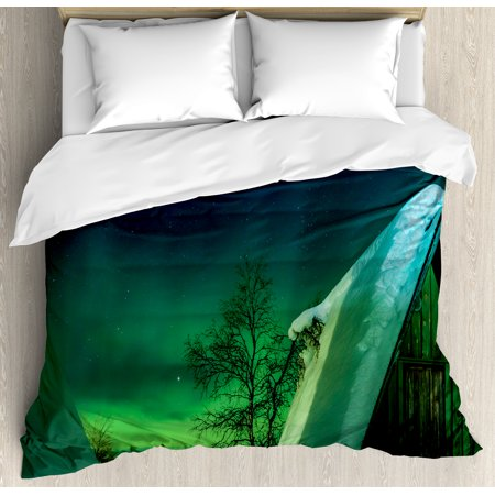 Northern Lights Queen Size Duvet Cover Set  Wooden Roof House Winter Icy Arctic View Cold Climates Air Image  Decorative 3 Piece Bedding Set With 2 Pillow Shams  Dark Blue Jade Green  By Ambesonne