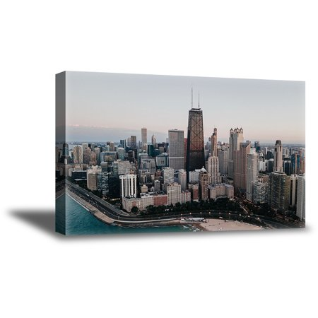 Awkward Styles Chicago Cityscape Bird's-Eye View Chicago Framed Artwork Made in USA Canvas Decor Chicago Souvenirs for Art Lovers Big American Cities Canvas Wall Art Living Room Decor Ideas - Prom Souvenir Ideas