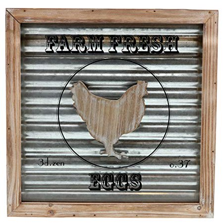 "Barnyard Designs Farm Fresh Eggs Wooden Framed Box Sign with Glass Paneling and Corrugated Sheet Metal Backing | Country Home Decor, 14"" x 14"""