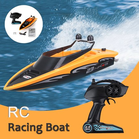 High-Speed 2.4Ghz 4 Channel Rechargeable Remote Wireless RC Racing Boat For Lakes Pool With Propellers Full Functions Outdoor Kids Toy Radio Remote Control