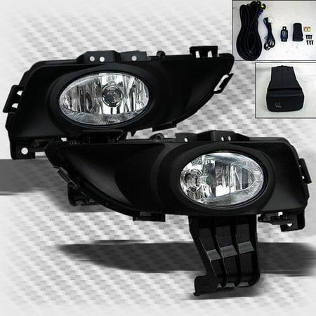 4 Fog Lights (2004-2006 Mazda 3 Sedan 4 Door Bumper Fog Lights Lamp+Switch+Bulbs+Harness 2005 Pair)