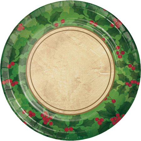 Ivory Holly - Club Pack of 216 Green and Ivory Gilded Holly Dinner Plates 8.75
