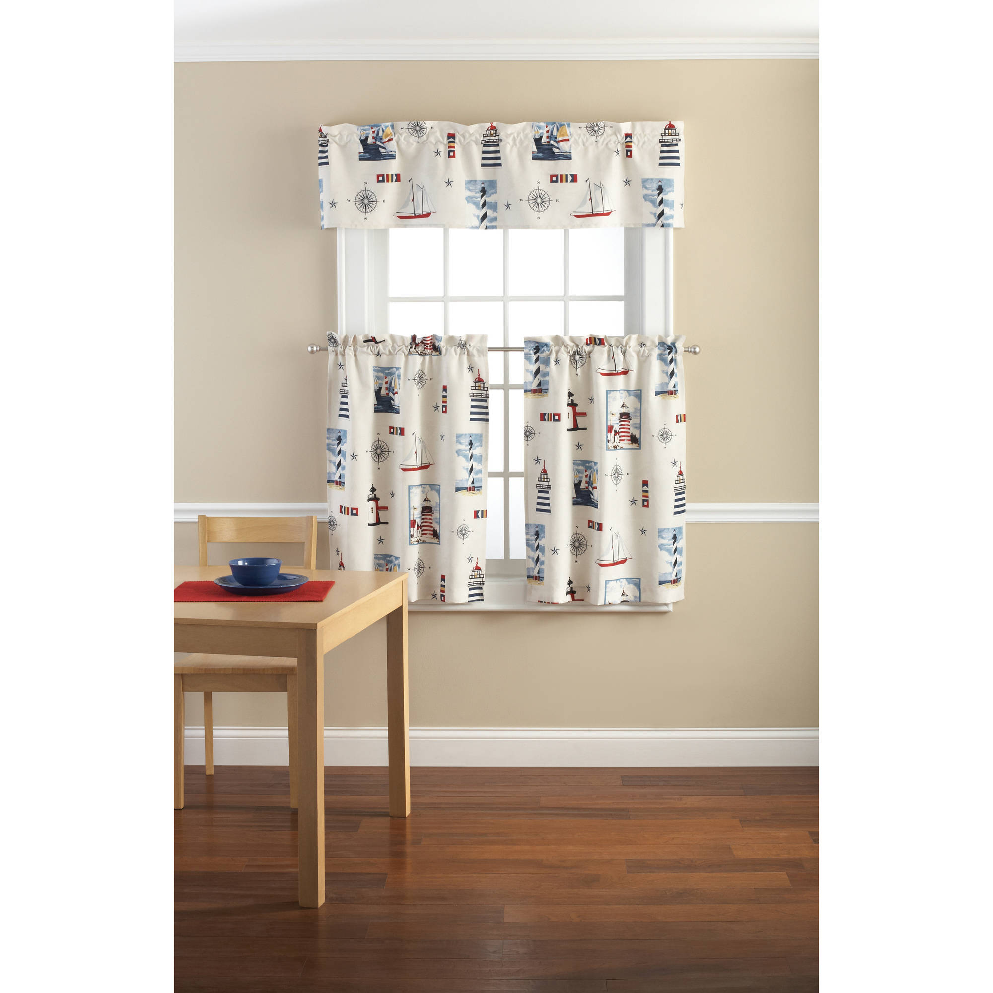 mainstays lighthouse printed valance and kitchen curtains set
