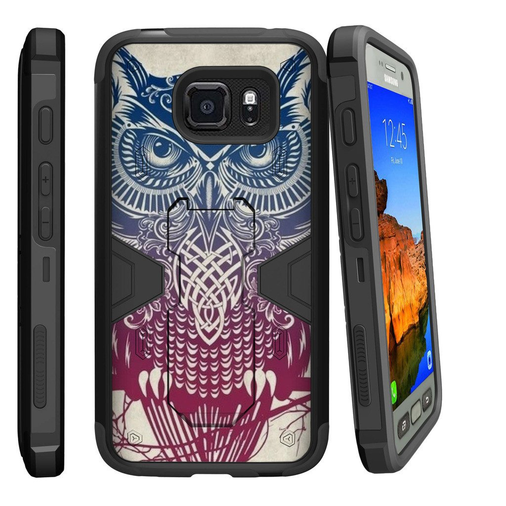 Samsung Galaxy [ S7-ACTIVE model] G891A Dual Layer Shock Resistant MAX DEFENSE Heavy Duty Case with Built In Kickstand - Tribal Owl Pink
