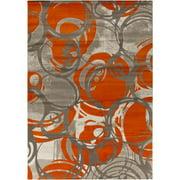 5.15' x 7.5' Neoteric Swirled Charcoal Gray and Burnt Orange Area Throw Rug