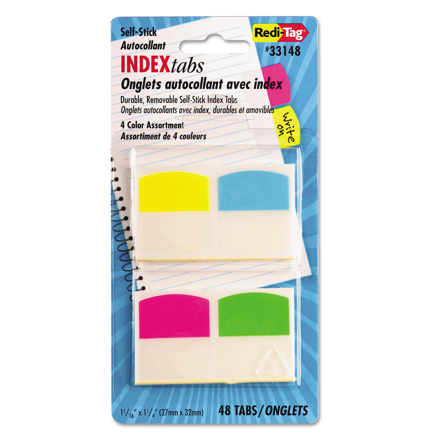 Write-On Self-Stick Index Tabs, 1 1/16 Inch, 4 Colors, 48/Pack