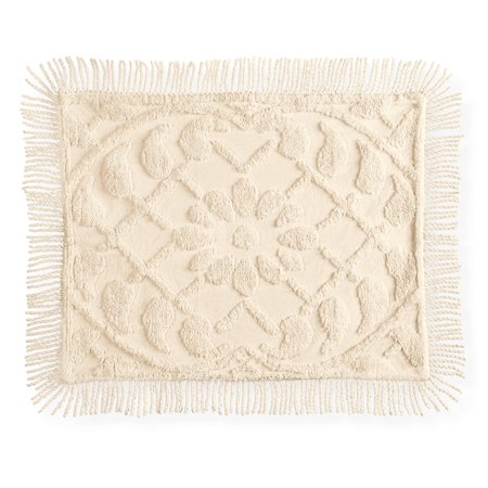 Vine Leaf Lattice and Floral Tufted Chenille Pillow Sham with Fringe Border- Elegant Bedroom Decor, Sham, Ivory