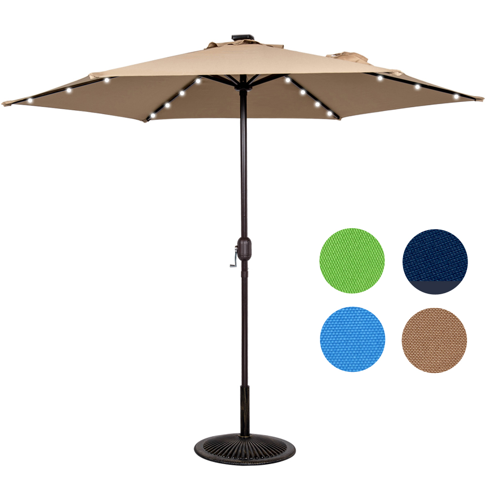 Sundale Outdoor 9ft 24 Led Light Outdoor Market Patio Umbrella Garden Pool with Crank, 6... by Sundale Outdoor