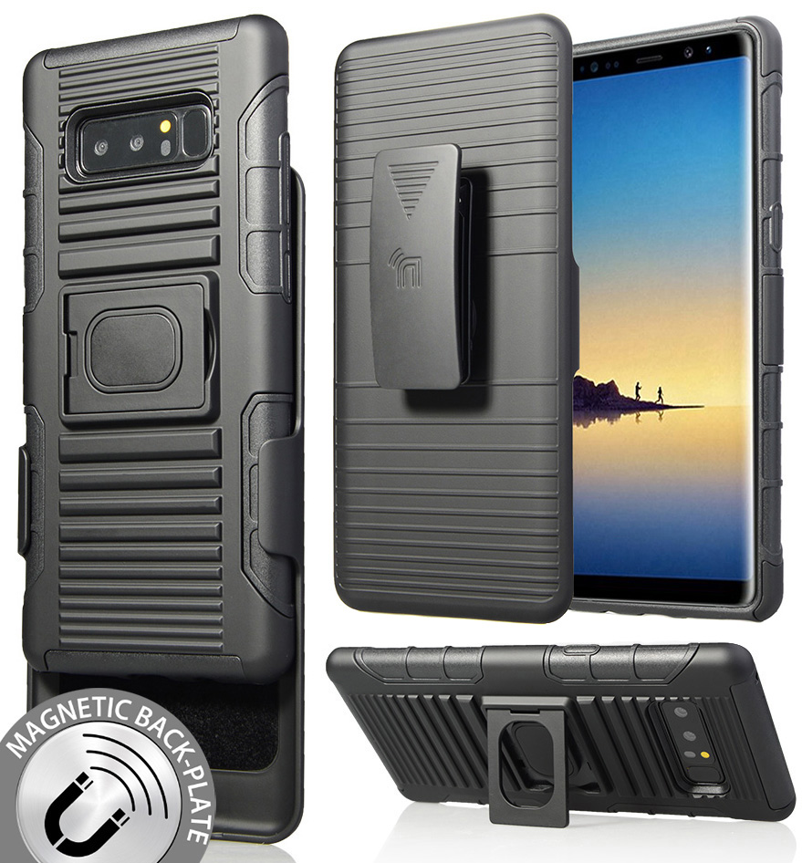 Note 8 Case Clip, Nakedcellphone's Black Ring Grip Cover + Belt Hip Holster Stand [with Built-In Mounting Magnet] for Samsung Galaxy Note 8, SM-N950