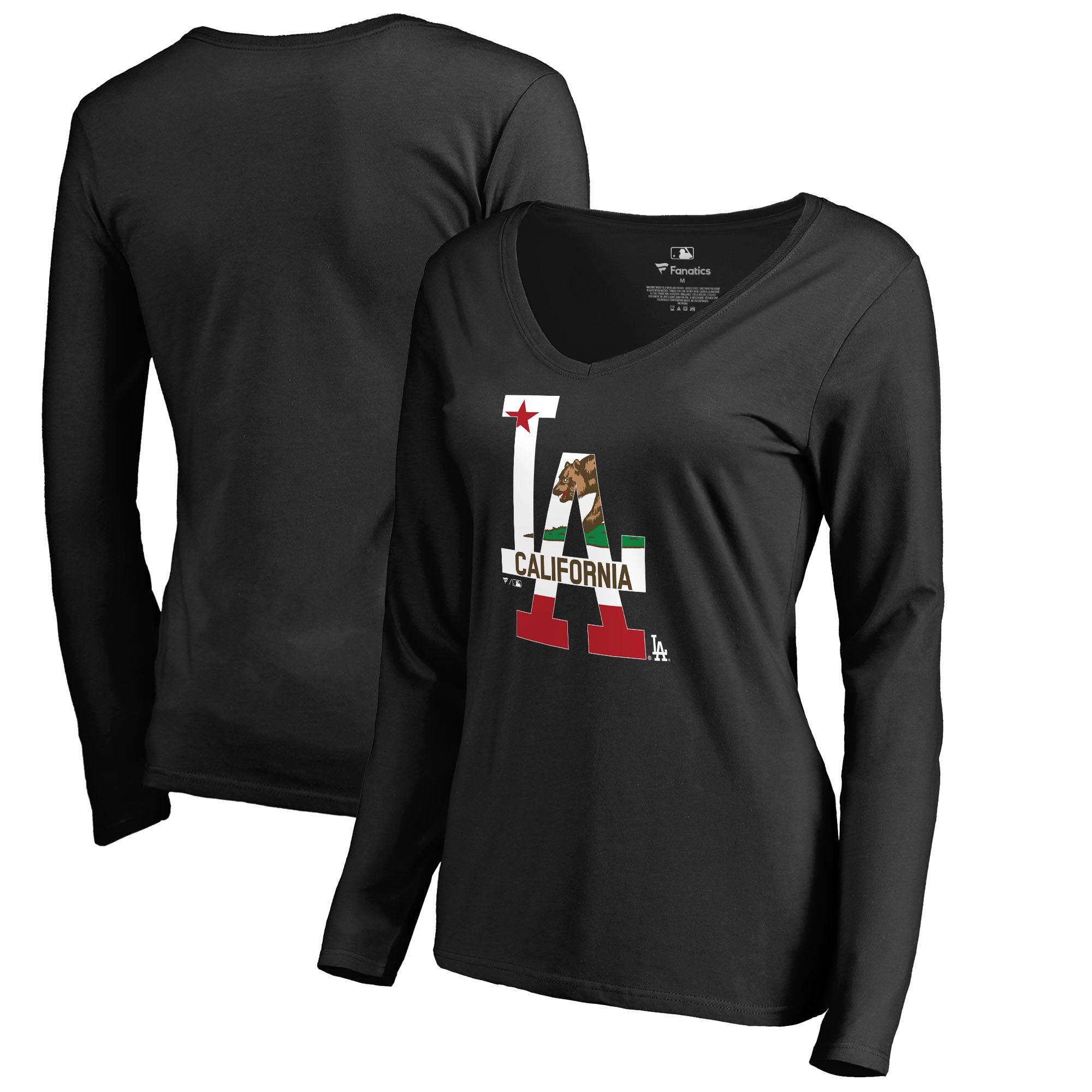 Los Angeles Dodgers Fanatics Branded Women's Hometown Collection Cali Flag Long Sleeve V-Neck T-Shirt - Black