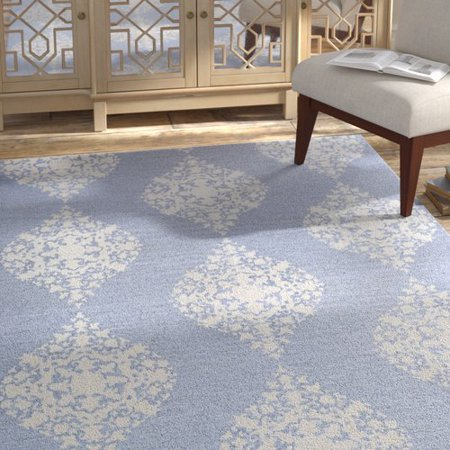Bungalow Rose Orkney Ornament Hand Woven Bluewhite Area Rug