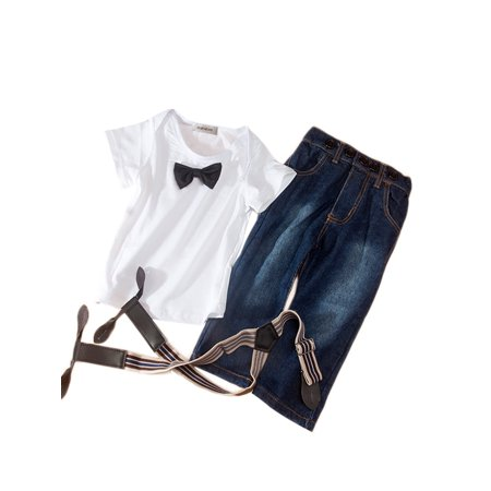 - StylesILove Baby Boy White 3D Bowtie Tee, Suspender Straps and Jeans 3-pc (3-4 Years)