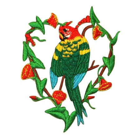 ID 0618 Parrot Vines Heart Patch Tropical Macaw Embroidered Iron On Applique