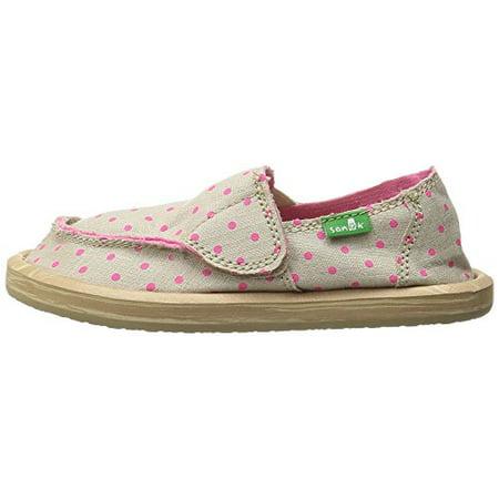 Sanuk Kids Hot Dotty Girls Sidewalk Surfer Shoe (Toddler/Little Kid/Big Kid), Natural/Hot Pink Dots, 12 M US Little Kid