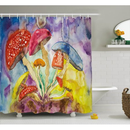 Psychedelic Shower Curtain Watercolor Style Mushrooms With Dreamy Grungy Artistic Enchanted Forest Theme Fabric Bathroom Set Hooks Multi