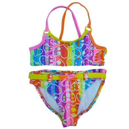 Angel Beach Girls Neon Striped Bikini Swimming Suit Swim Bathing Suit 2 PC