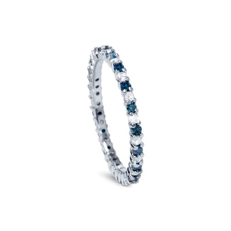 1/2ct Treated Blue & White Diamond Eternity Ring 14K White Gold - image 1 de 3