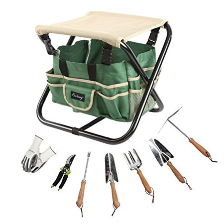 - Finnhomy 9 Piece All-In-One Garden Folding Stool Set with 1 Tote Bag, 5 Chrome Steel Garden Tools, 1 Pruning Shears and 1 Pair Working Gloves