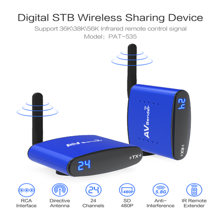 PAT-535 480P 5 8GHZ Wireless Audio Video Transmitter Receiver Blue TV  Wireless AV Sender Audio Video SD TV Transmitter Receiver