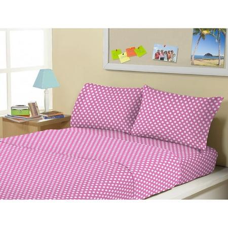 Kute Kids Polka Dot Dreams Microfiber Sheet - Pink Polka Dot Sheets