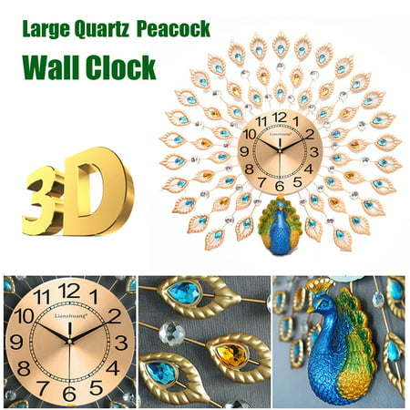 21inch 3D Peacock Crystal Diamonds Metal Wall Clock, Decorative Clock for Living Room, Bedroom, Office Space