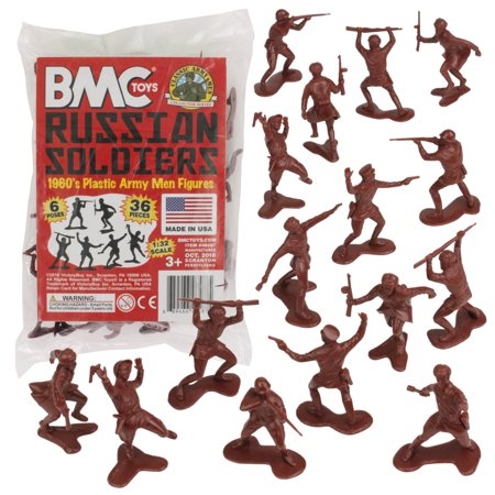 BMC Classic Marx RUSSIAN Plastic Army Men - 36pc WW2 Soldier Figures MADE IN USA Classic Army Mp5