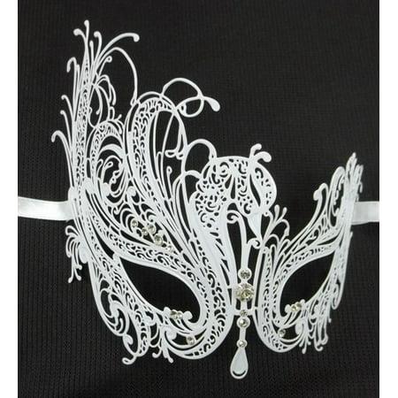 White Crystal Swan Laser Cut Venetian Mask Masquerade Metal Filigree Mardi Gras - Elaborate Mardi Gras Masks