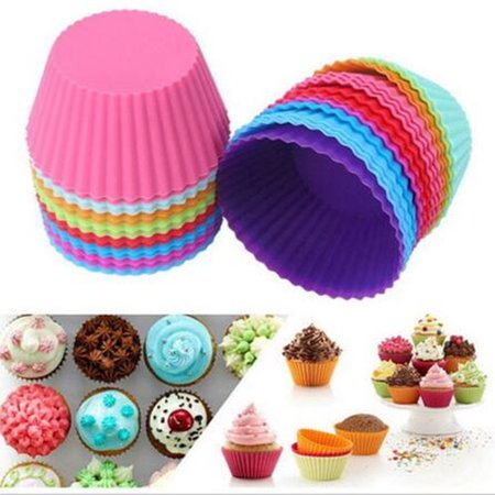 Meigar 12/24Pcs Reusable Cupcake Moulds Mini Silicone Baking Cups Muffin Cups Cupcake Liners Chocolate Holders Vibrant Colors Round ,Today's Special Offer!