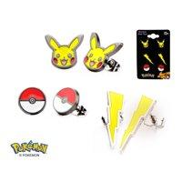 Pokemon Pikachu Starter Trainer Earrings Pokemon Go -Officially Licensed(3-Pack)