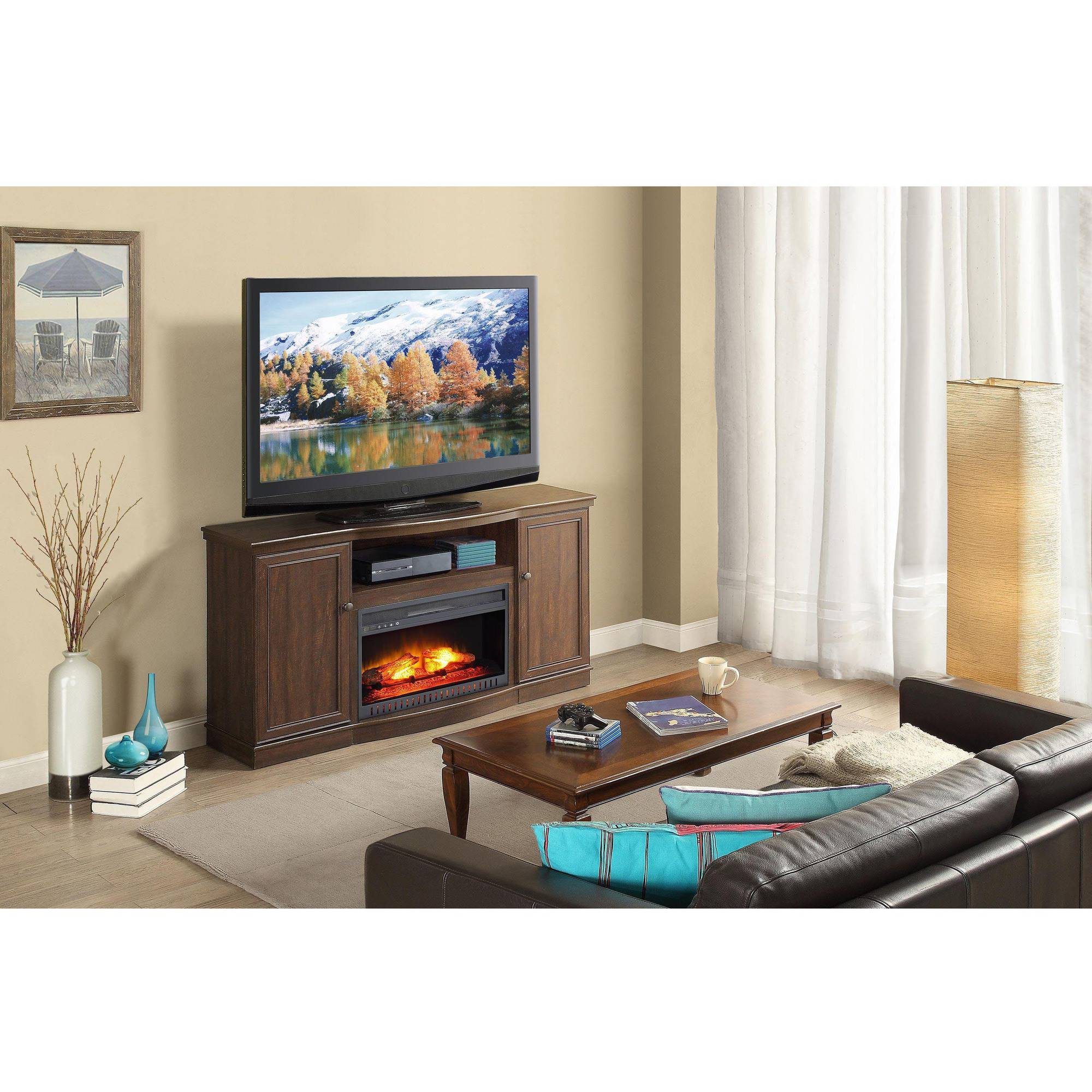 "Whalen Media Fireplace for TVs up to 65"", Rustic Brown"