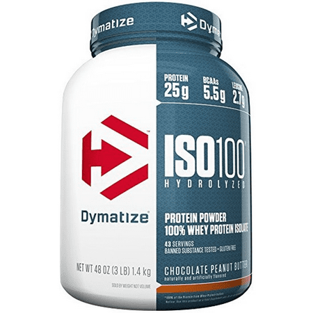 Dymatize ISO 100 Hydrolyzed 100% Whey Protein Isolate Powder, Chocolate Peanut Butter, 25g Protein/Serving, 3 Lb ()